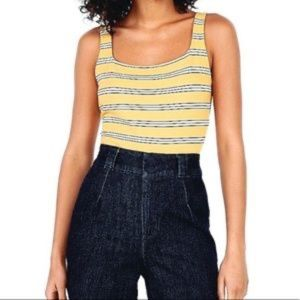 Express Yellow Striped Square Neck Bodysuit